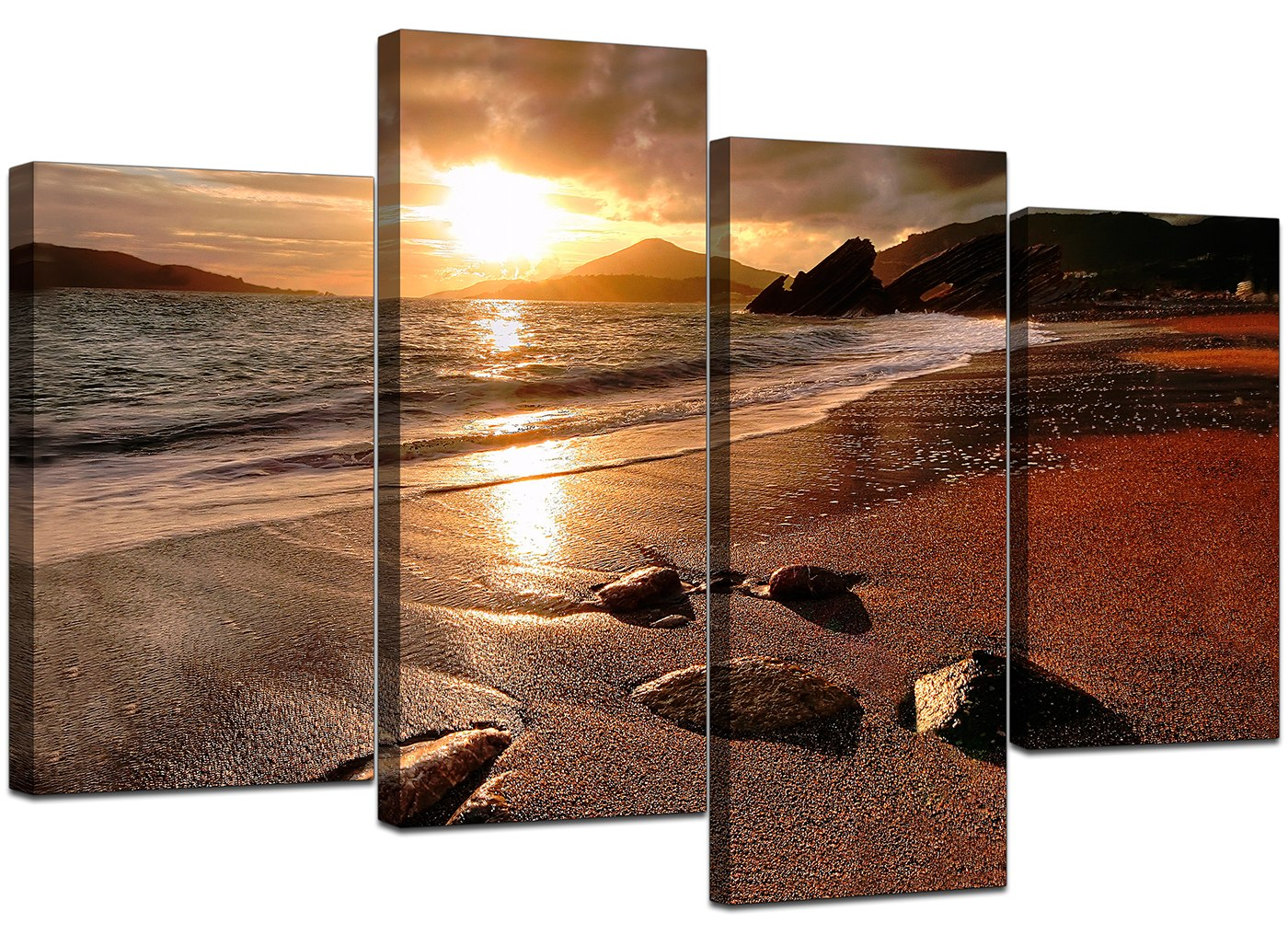 Large sunset beach canvas wall art pictures living room prints xl 4131 ebay - Living room canvas art ...