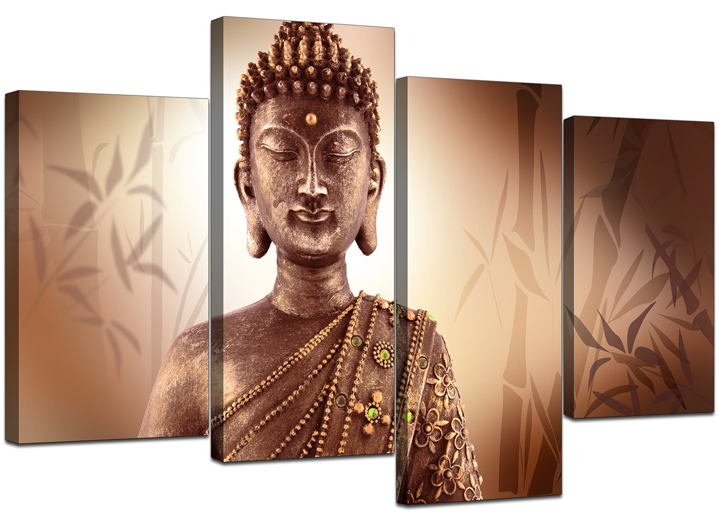 Large brown buddha canvas pictures wall art prints xl zen for Buddha wall art