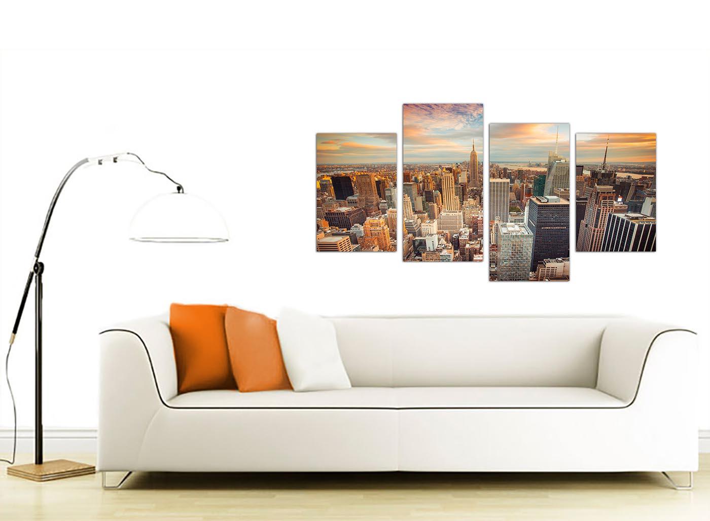 Canvas Prints Of New York Skyline For Your Bedroom Set Of 4 Manhattan Ebay