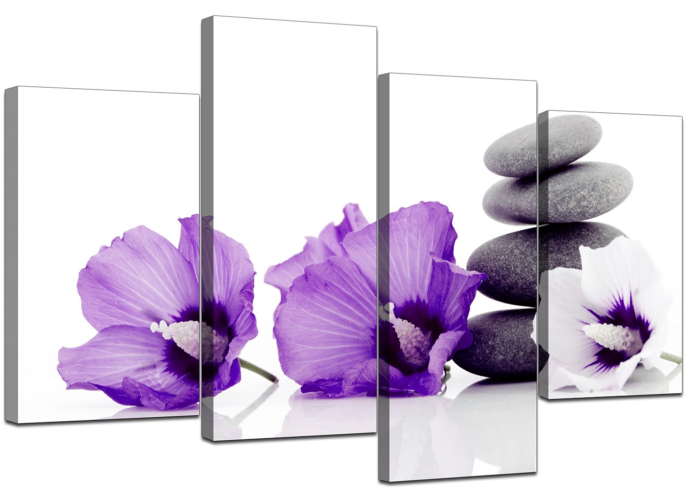 large purple flower floral canvas wall art pictures xl prints set 4071 ebay. Black Bedroom Furniture Sets. Home Design Ideas