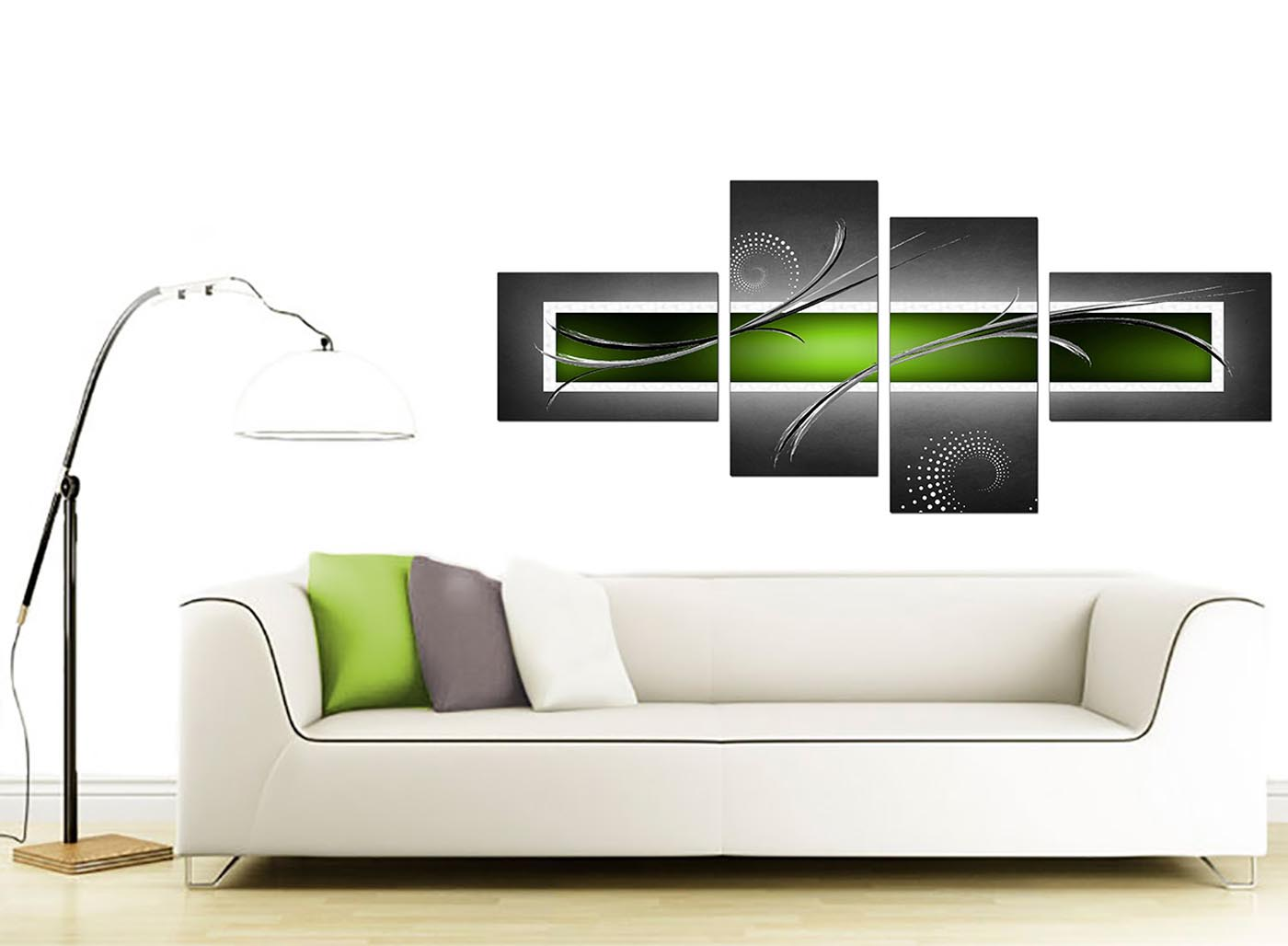 Large lime green grey abstract canvas wall pictures xl art for Lime green wall art
