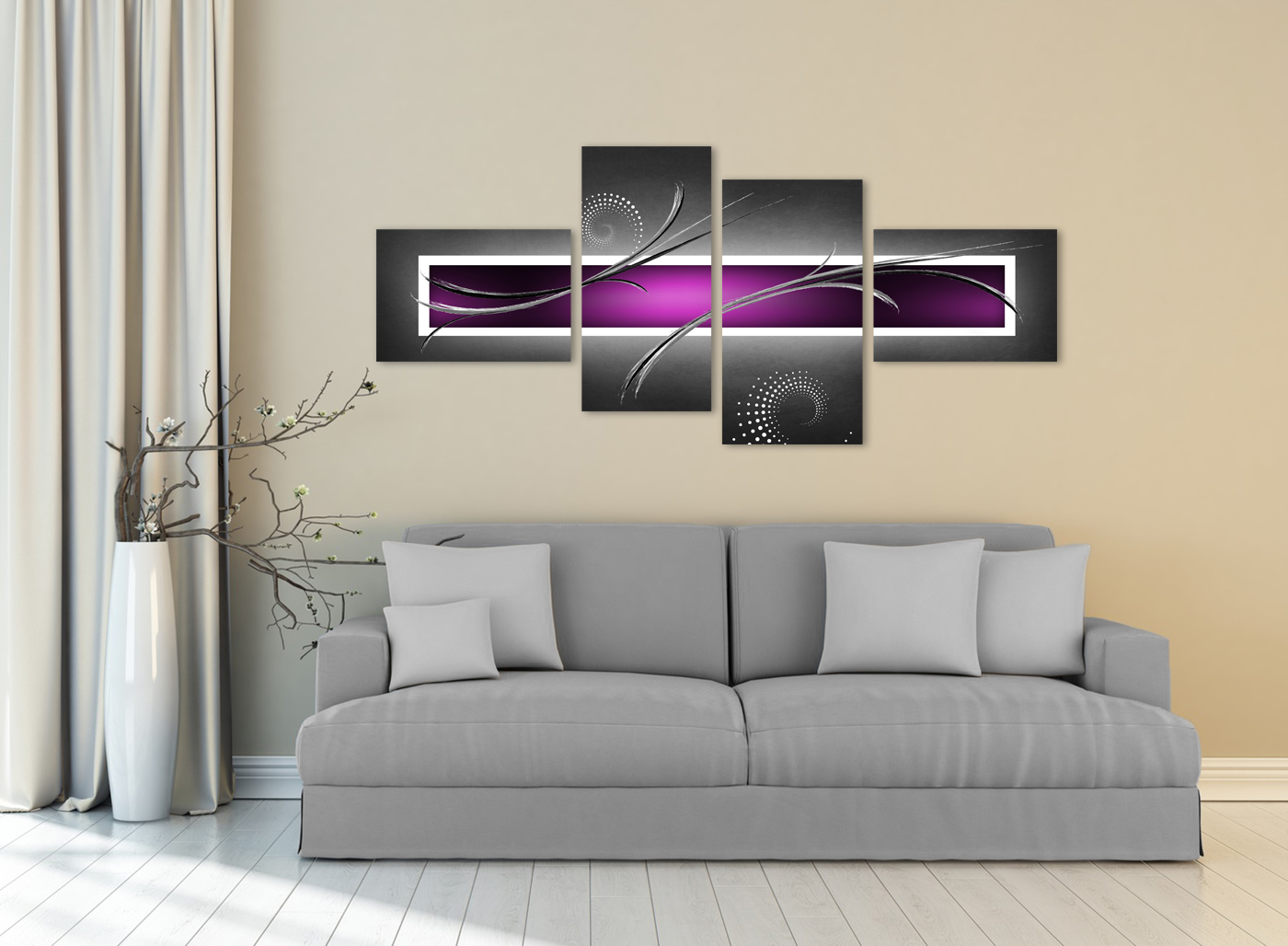 Large Black White Grey Purple Abstract Canvas Art