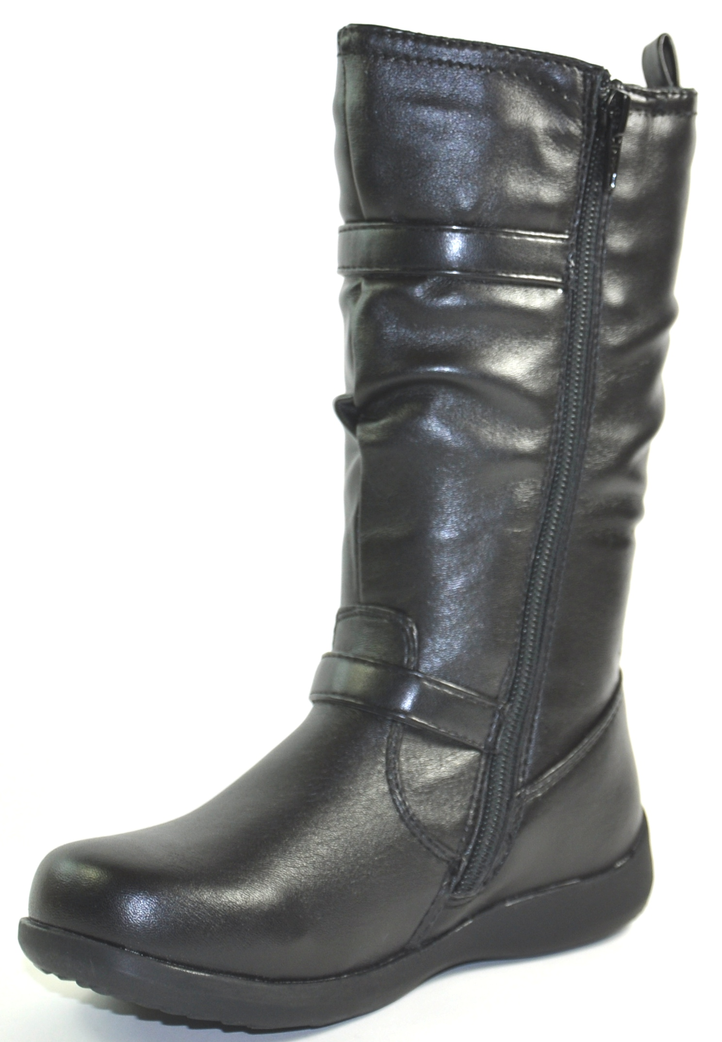 new black faux leather zip up calf length boots
