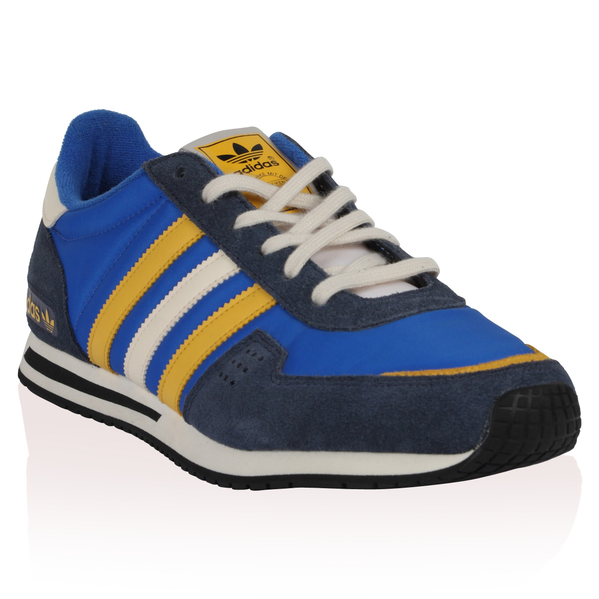 brand new 9fa5a 20cf6 NEW MENS ADIDAS COURAGE RACER BLUE YELLOW LACE UP TRAINERS FLAT SHOES SIZE  8 UK