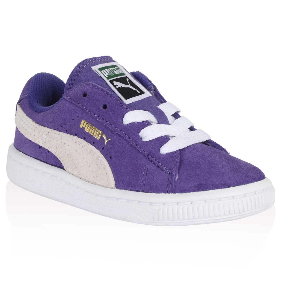 KIDS GIRLS BOYS PUMA LIBERTY PURPLE WHITE SUEDE LACE UP ...