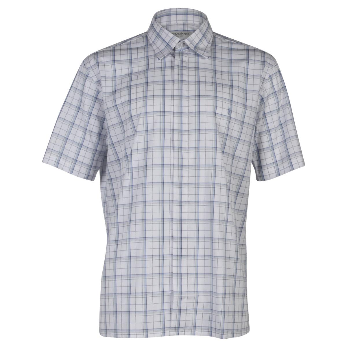 yves saint laurent chemise homme ysl bleu blanc manches courtes taille l xxl ebay. Black Bedroom Furniture Sets. Home Design Ideas