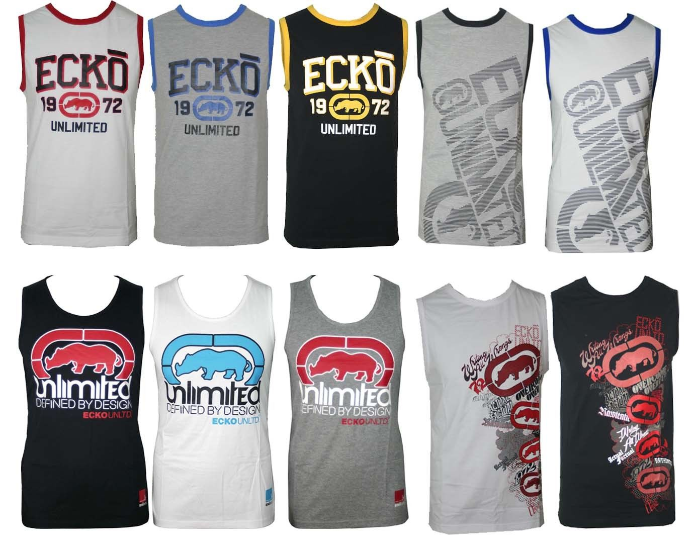 NEW MENS ECKO VEST GREY WHITE BLACK CREW NECK SIZE S M L XL XXL