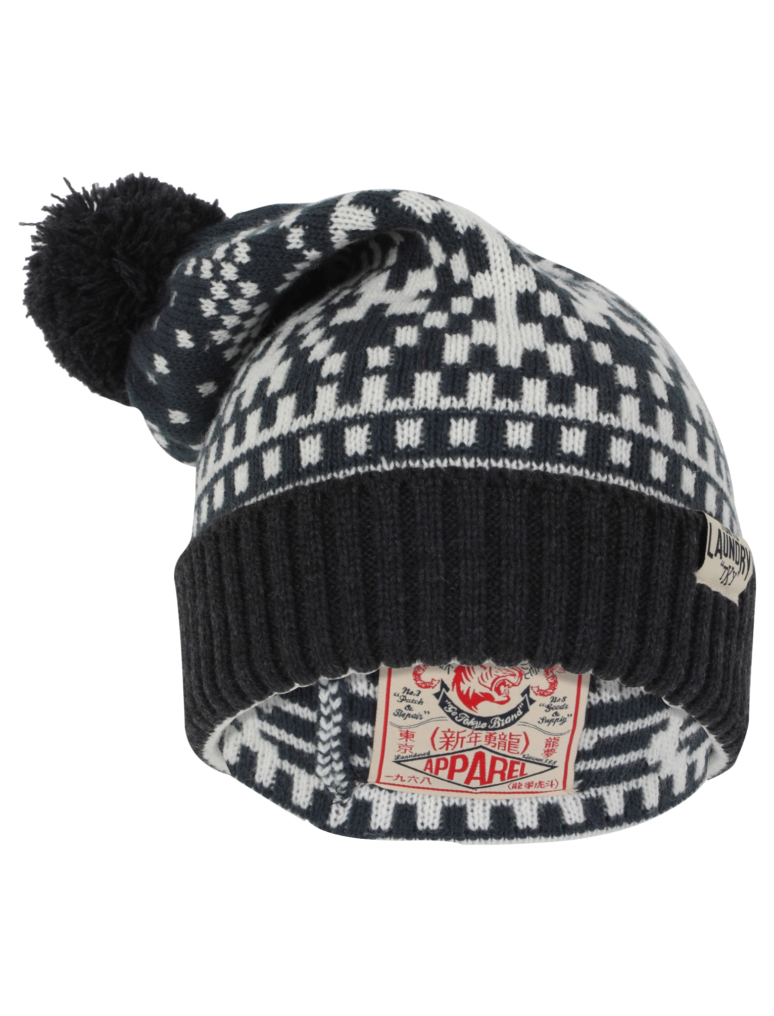 Mens Bobble Hat Knitting Pattern : NEW TOKYO LAUNDRY MENS PENDA GREY JAQUARD PATTERN KNITTED ...