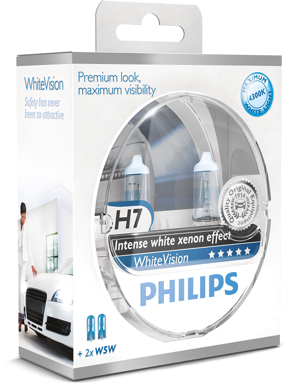 philips white vision headlight halogen bulbs xenon effect. Black Bedroom Furniture Sets. Home Design Ideas