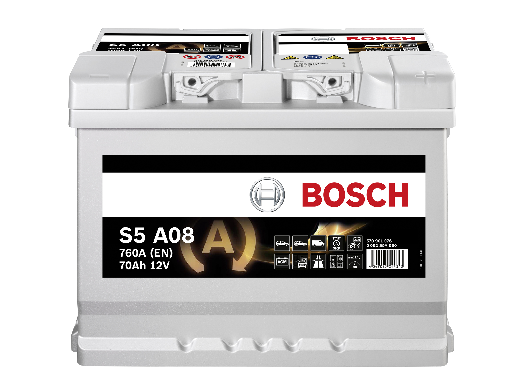 bosch s5a08 agm gel car battery type 096 with 3 year. Black Bedroom Furniture Sets. Home Design Ideas