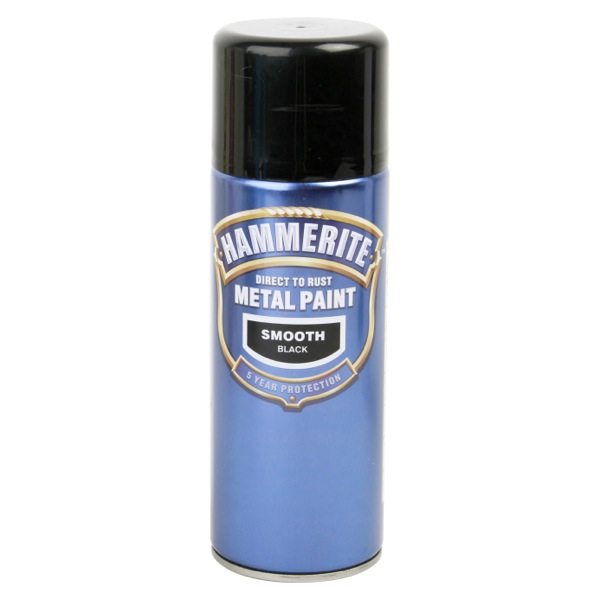 Smoothrite metal paint smooth black 400ml aerosol spray can hammerite ham5092965 ebay Black metal spray paint