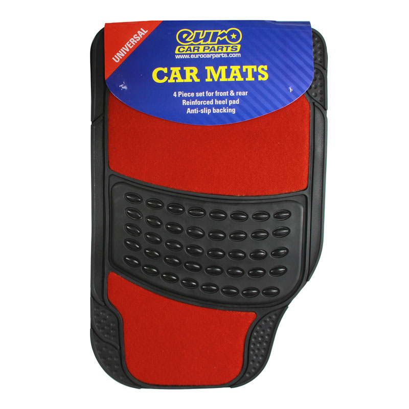 Heavy Duty 4 Piece Black Rubber Car Mat With Red Carpet
