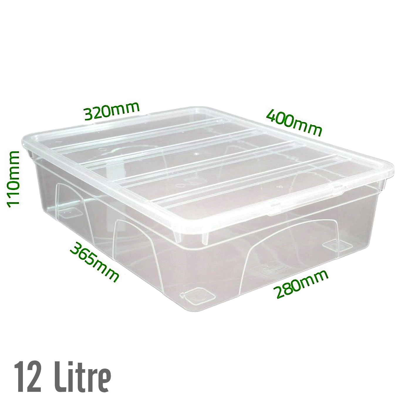 Acrylic Boxes With Lids Uk : Ltr underbed clear plastic storage boxes tubs with