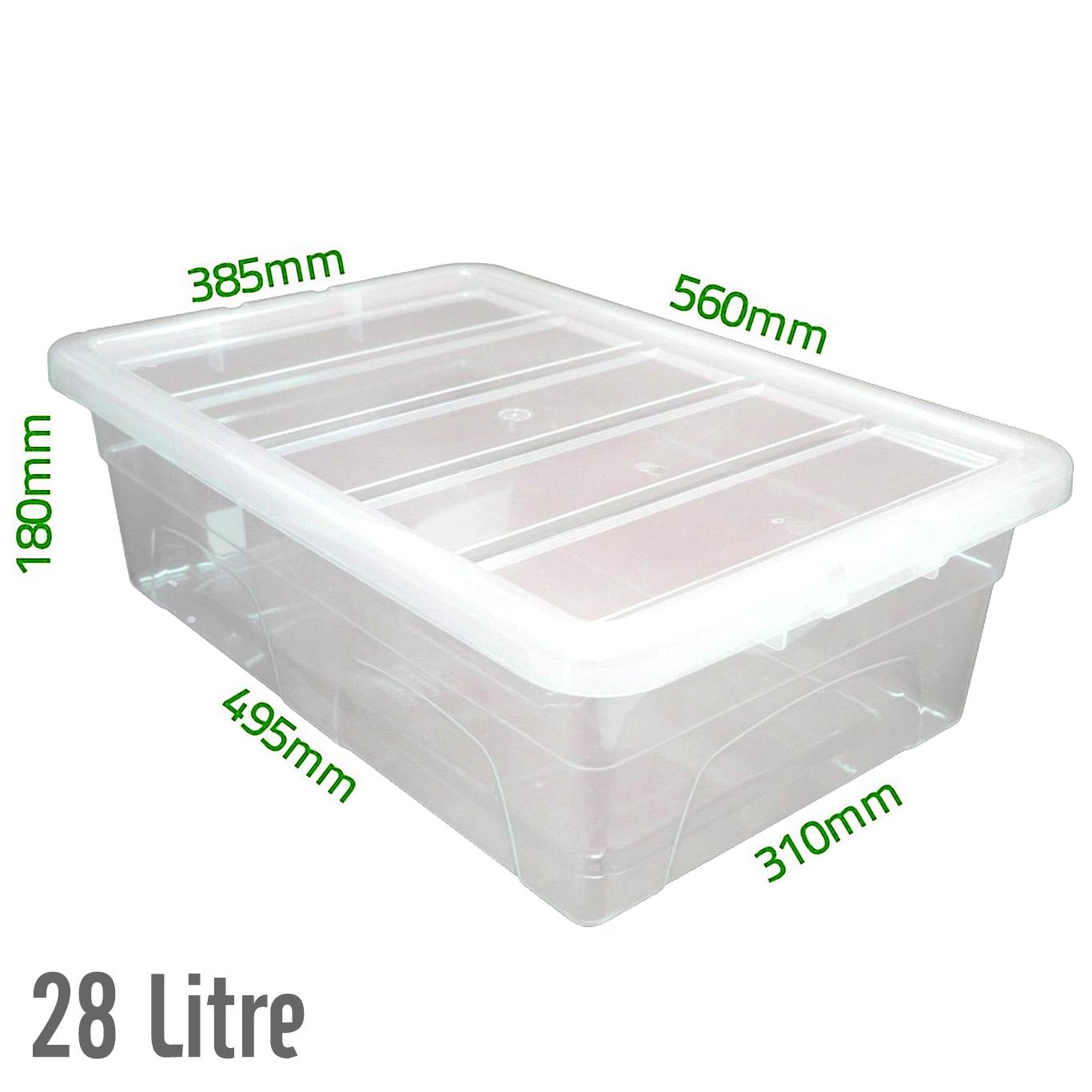 28 ltr sous le lit en plastique transparent bo tes de - Boite rangement plastique sous lit ...