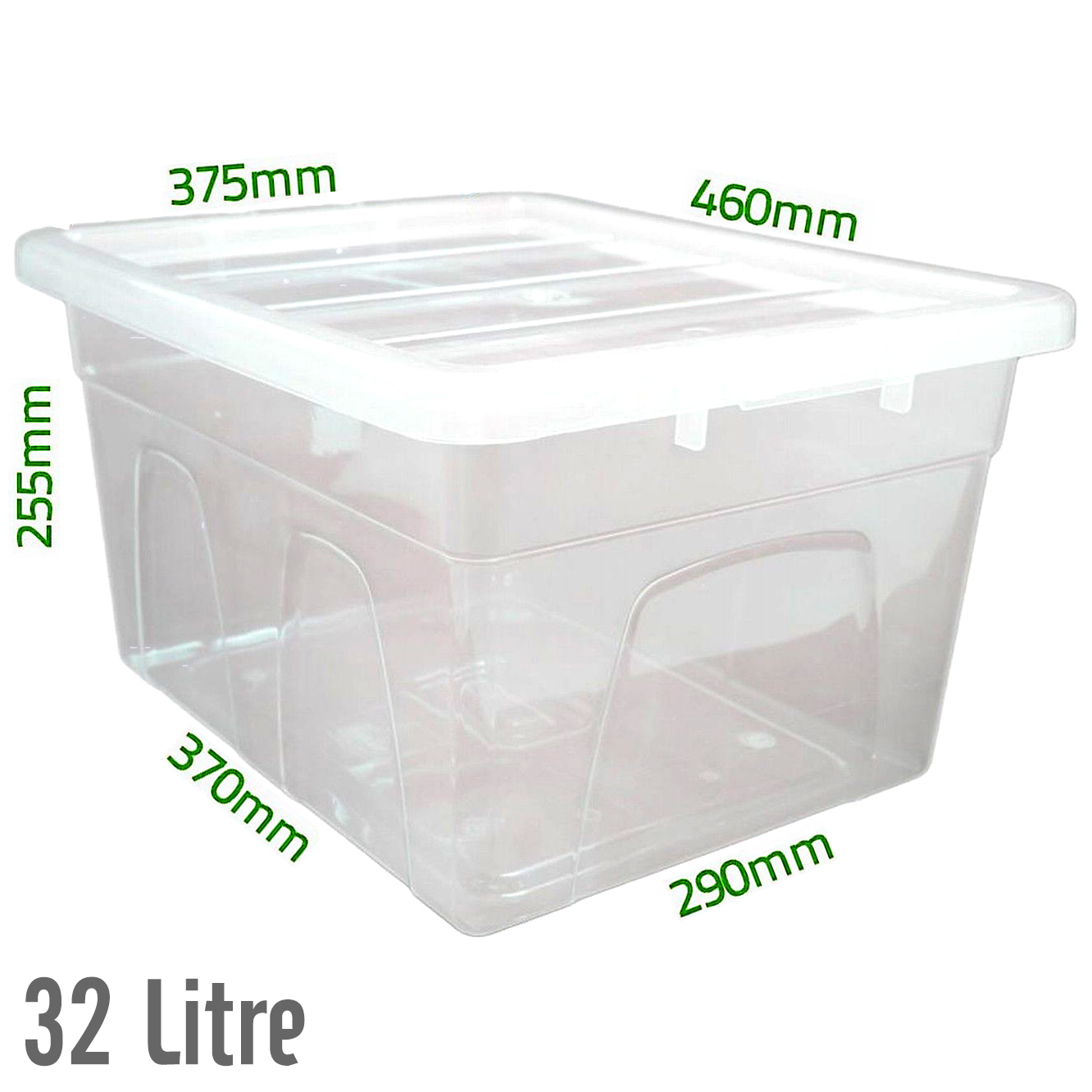 Acrylic Boxes With Lids Uk : Ltr clear strong plastic storage boxes tubs with lids