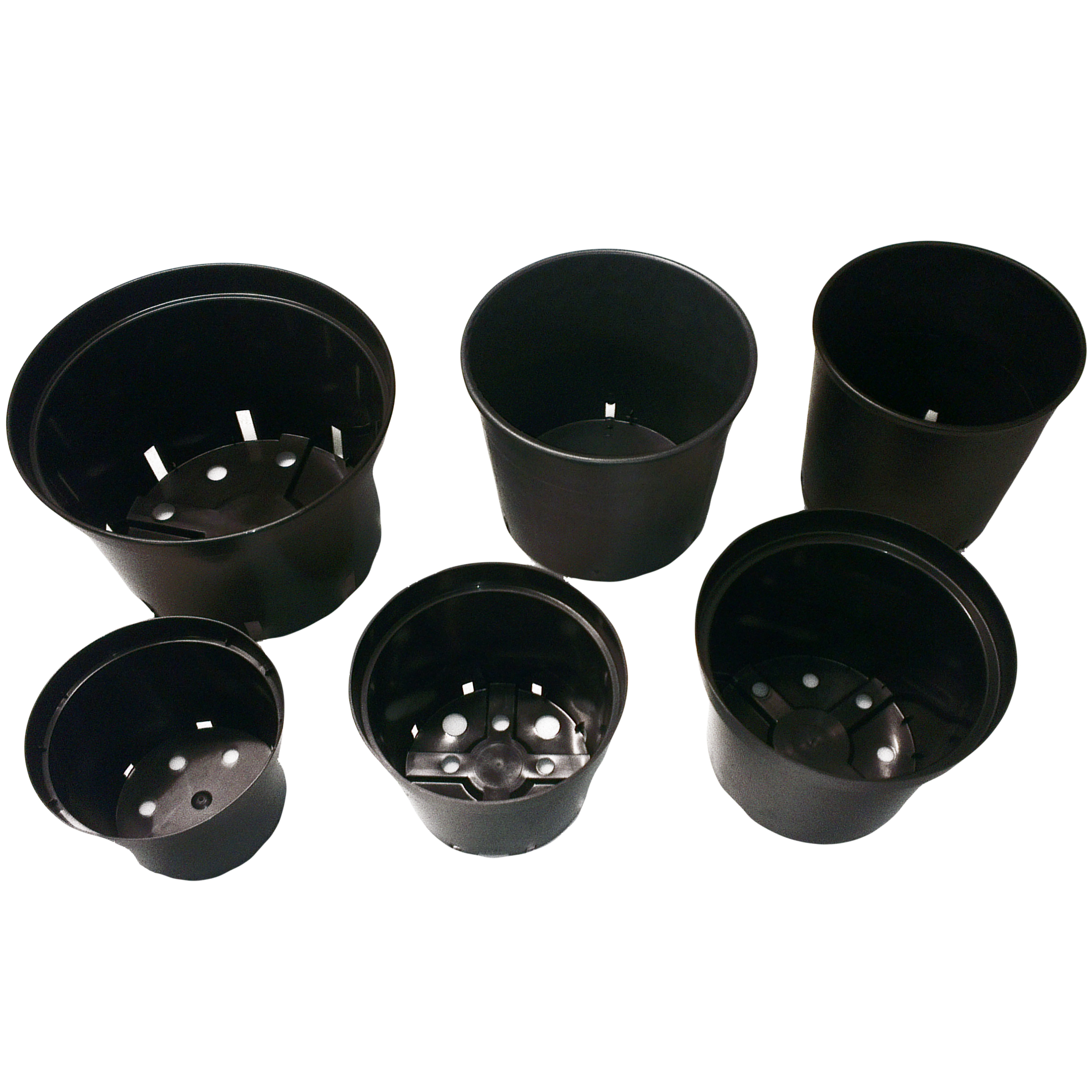Strong Black Plastic Plant Flower Pots in Various Sizes