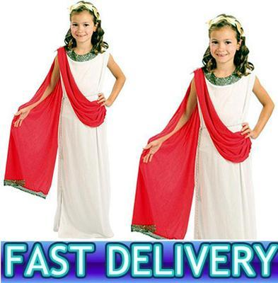 CHILDRENS GIRLS GREEK RED ROMAN GODDESS TOGA EGYPTIAN FANCY DRESS COSTUME 590.