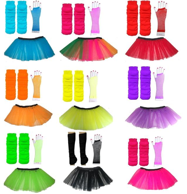 4-7 or 8-12 Years CHILDRENS Neon Tutu / Gloves Legwarmers Set 80s ...