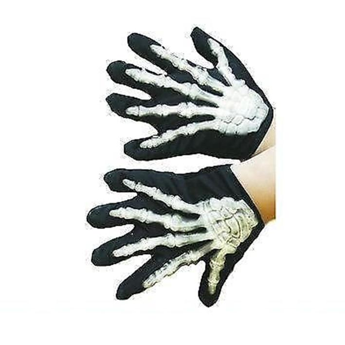CHILDRENS Skeleton Gloves Glow in the Dark Child Halloween Horror Fancy Dress