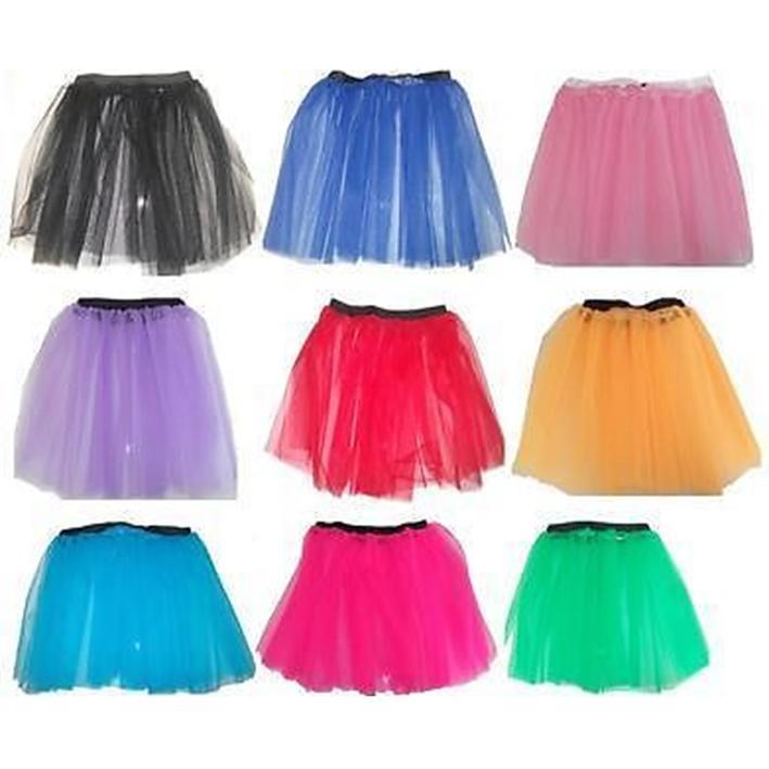 14-LONG-Neon-2-Layer-Tutu-Skirt-1980s-80s-Fancy-Dress-Halloween-8-14