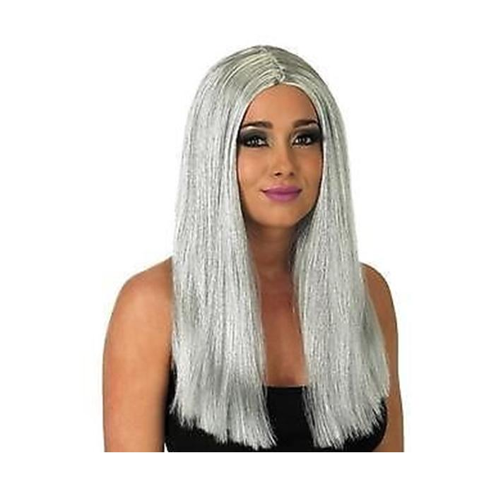 Long Grey Straight Wig Granny Old Woman Witch Halloween Fancy Dress FS 2839