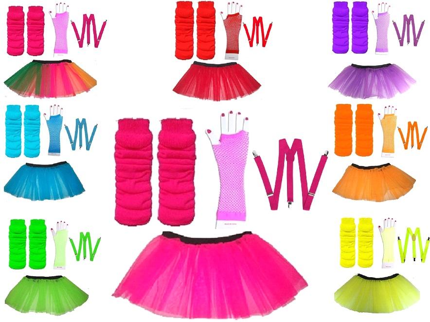 NEON UV TUTU GLOVES LEG WARMERS BRACES 1980S FANCY DRESS ALL SIZES