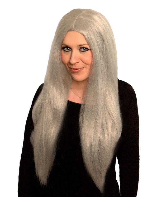 Long Silver Grey Witch Granny Old Woman Wig Halloween Horror Fancy Dress