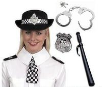 Policewoman WPC Police Hat, Scarf, Epaulettes, Badge, Handcuffs & Truncheon