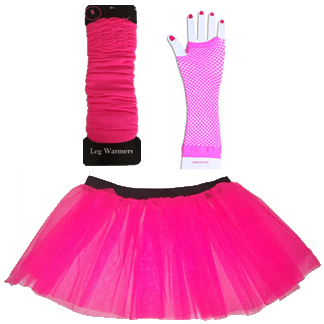 Neon UV Tutu Skirt Gloves Legwarmers Girls Fancy Dress