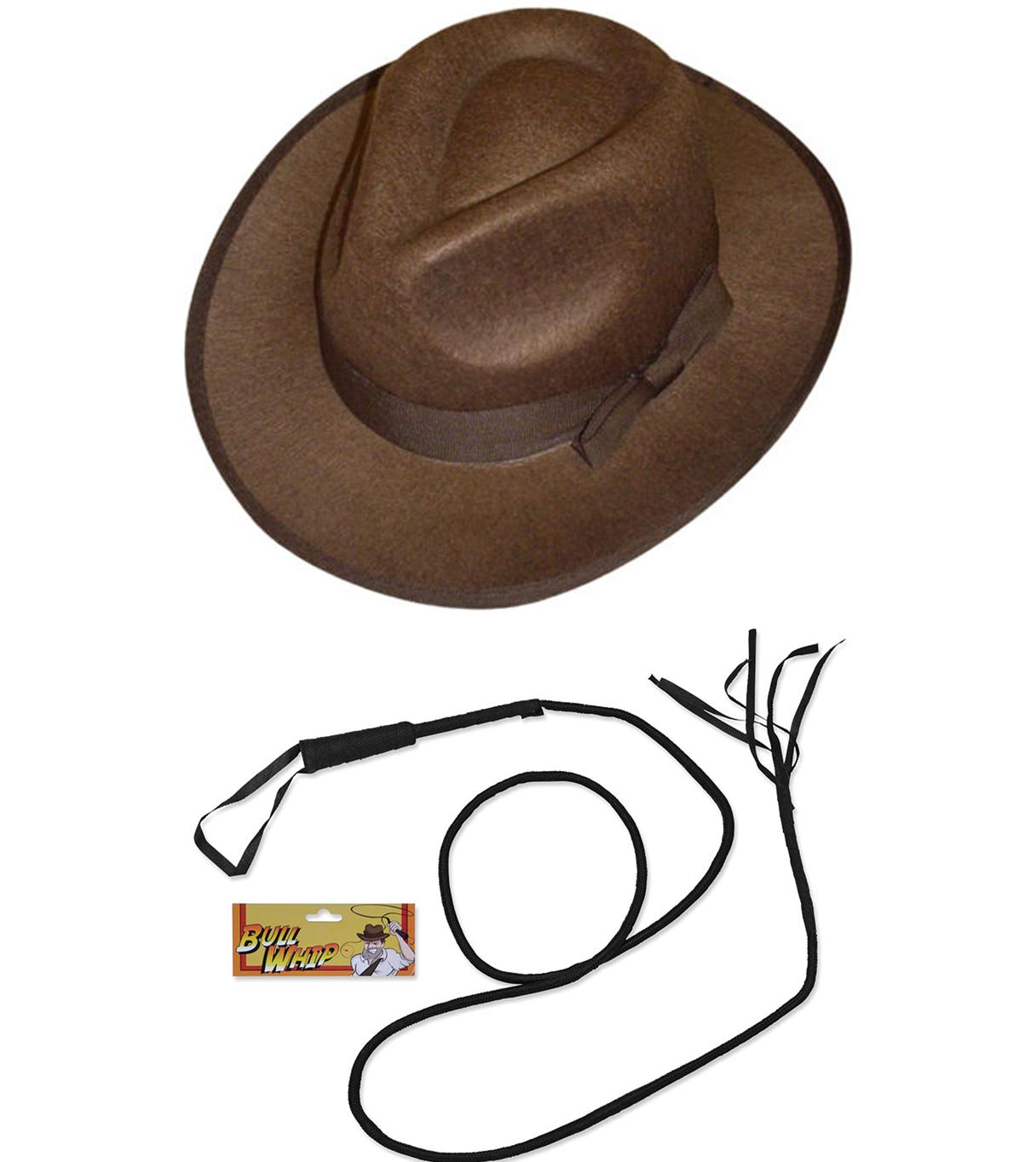 Explorer Hat Whip Fancy Dress Costume Accessory Indiana Jones