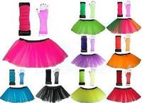 Neon Tutu,Long Fishnet Gloves & Legwarmers Set