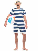 Mens 1920s Old Time Bathing Suit Victorian Beach Fancy Dress Costume