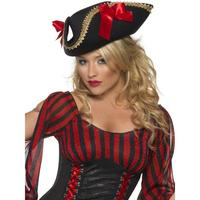 Smiffy's Fever Pirate Hat (Black and Red)
