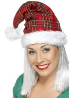 Tartan Santa Claus Hat Fancy Dress Accessory Christmas