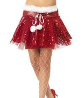 Santa Sequin Tutu Christmas Fancy Dress Accessory One Size