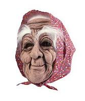 Old Woman Mask With Hair And Headscarf Granny Gypsy Fancy Dress