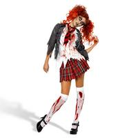 High School Horror Zombie Ladies School Girl Fancy Dress Costume