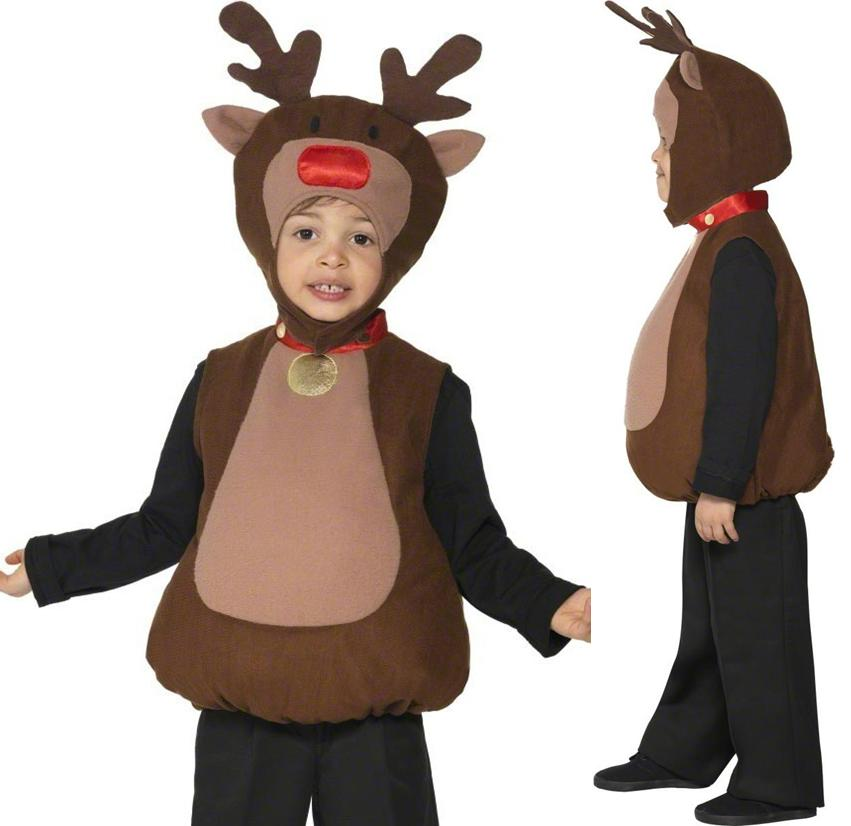 Childrens Kids Reindeer Fancy Dress Costume Christmas