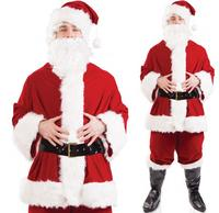 Deluxe Plush Santa Claus Father Christmas Suit Fancy Dress Costume