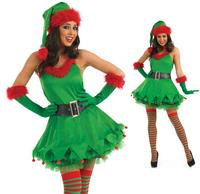 Ladies Sexy Christmas Elf Santas Helper Fancy Dress Costume