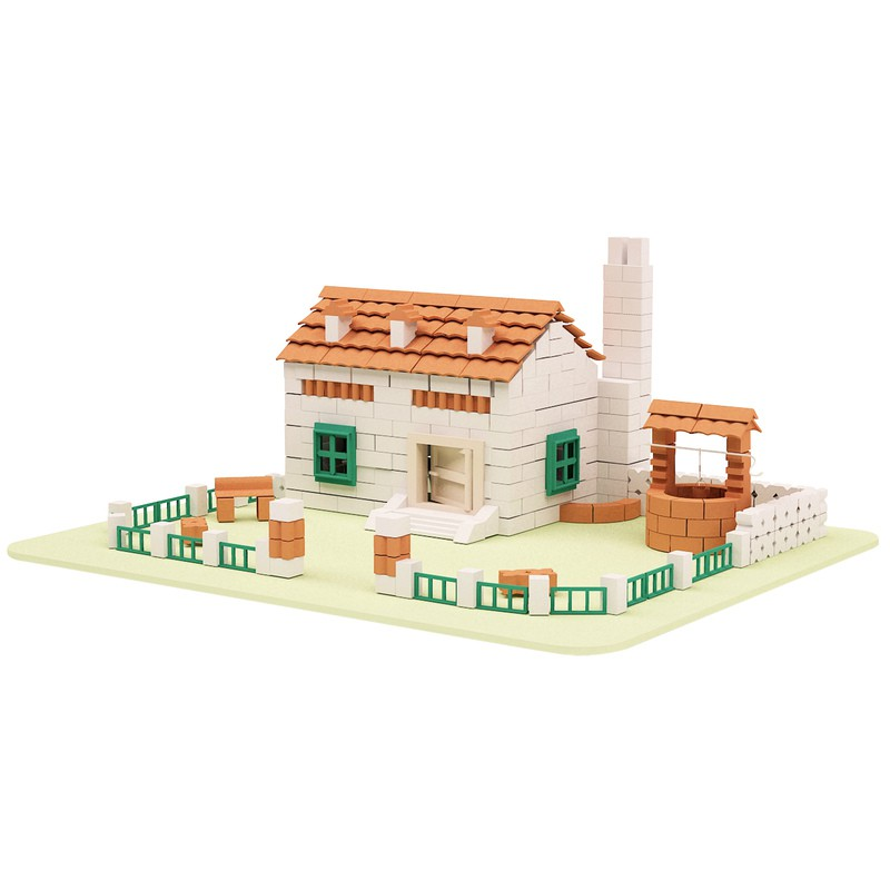 Toy miniature farm house construction kit pottery building for Farm house construction