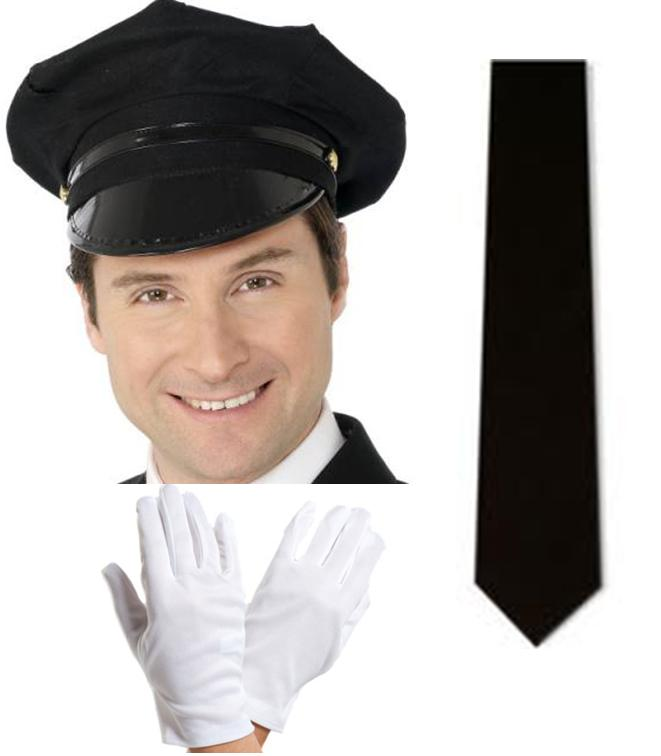 Chauffeur Limo Taxi Driver Cap Hat Black Tie and White Gloves Fancy Dress