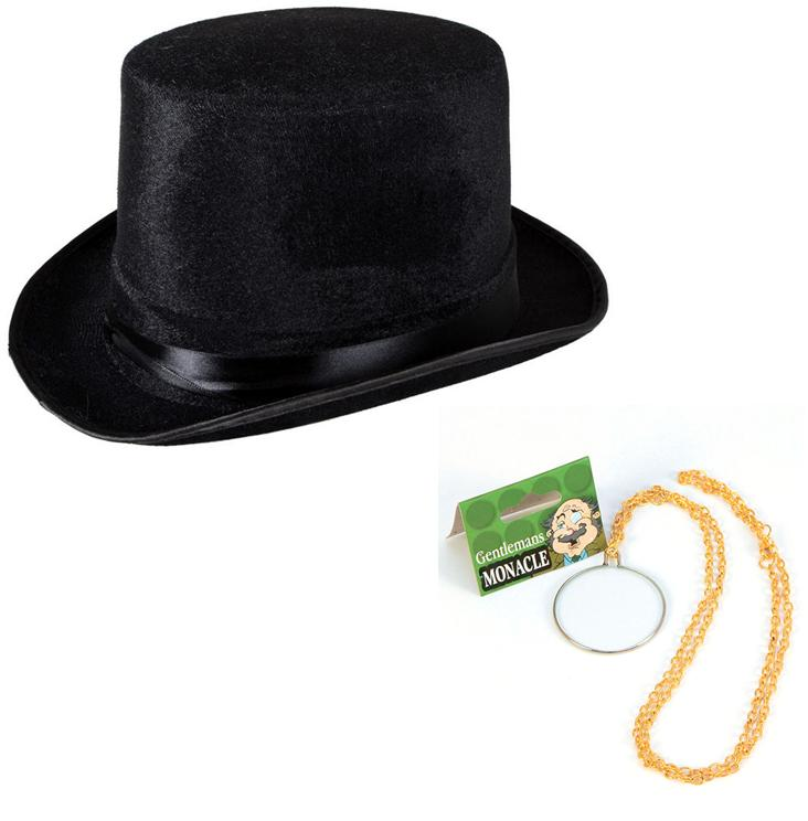 Victorian Top Hat and Monocle Fancy Dress Kit Old England ...