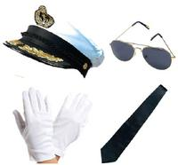 Captain Deluxe Hat Tie Gloves Aviator Sunglasses Fancy Dress Kit Naval Sailor
