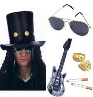 Slash Rocker Hat Wig Glasses Guitar 2 Rings Cigarettes Guns N Roses Fancy Dress