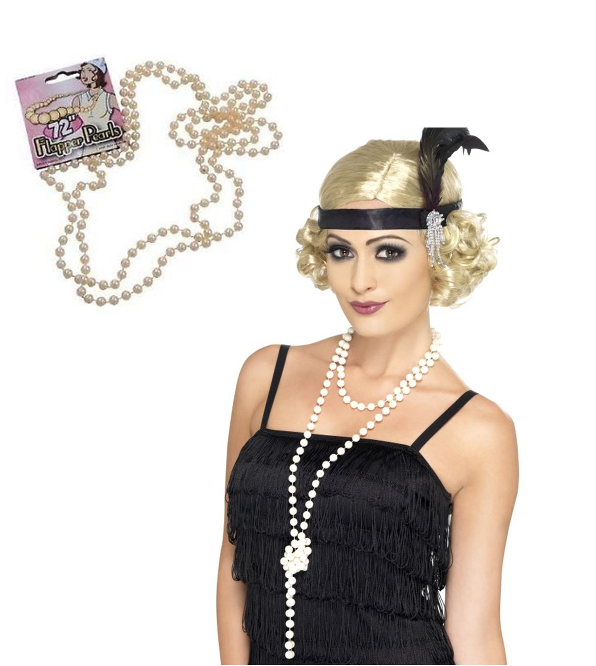Details about flapper costume necklace ladies 20s fancy dress 1920s - 1920s 20s Gangster Flapper Charleston Gatsby Fancy Dress
