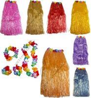 80cm Hula Skirt with Flowers Headband Garland Wristbands Hawaiian Luau Fancy Dress