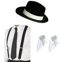 1920s Gangster Black Hat, Black Braces, Black Tie and Spats Fancy Dress
