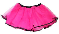 Deluxe Neon Pink 3 Layer Tutu with Lace Trim One Size