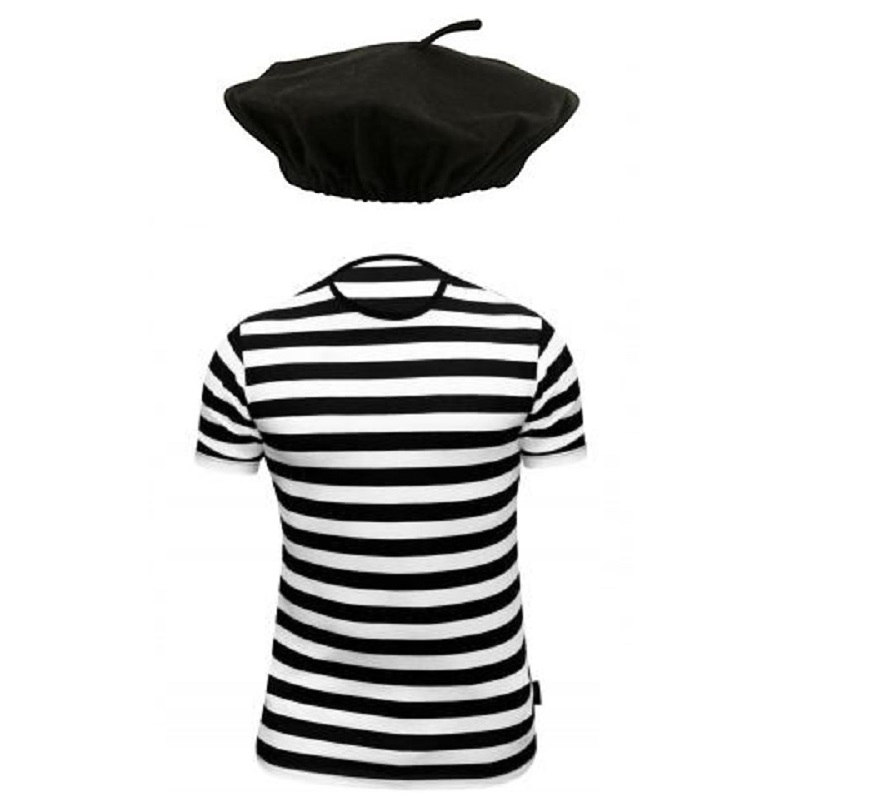 Frenchman french t shirt beret garlic stag night fancy for French striped shirt and beret